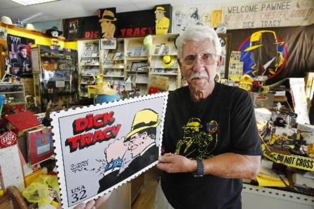 Darrell Gambill in the  Dick  Tracy Headquarters in the Pawnee Historical Museum,