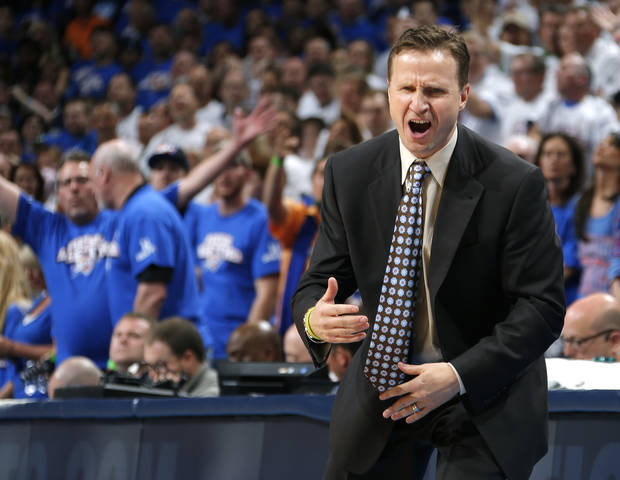 Oklahoma City coach Scott Brooks reacts during Game 2 in the second round of the NBA playoffs between the Oklahoma City Thunder and the Memphis Grizzlies at Chesapeake Energy Arena in Oklahoma City, Tuesday, May 7, 2013. Oklahoma  City lost 99-93. Photo by Bryan Terry, The Oklahoman