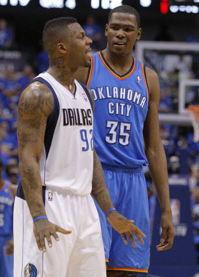 Oklahoma City's Kevin Durant (35) talks with DeShawn Stevenson (92) of Dallas during game 1 of the Western Conference Finals in the NBA basketball playoffs between the Dallas Mavericks and the Oklahoma City Thunder at American Airlines Center in Dallas, Tuesday, May 17, 2011. Photo by Bryan Terry, The Oklahoman
