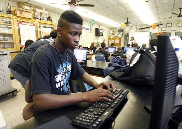 A student works on computer at Webster Middle School in Oklahoma City, OK, Friday, May 4, 2012. This is for a story about the life of a middle school.  By Paul Hellstern, The Oklahoman