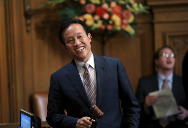 David Chiu, president of San Francisco's Board of Supervisors, prepares to convene a meeting on Tuesday, Oct. 9, 2012, in San Francisco. The Board planned to vote on removing suspended Sheriff Ross Mirkarimi, who pled guilty to a misdemeanor charge in a domestic violence case, from office. (AP Photo/Noah Berger)