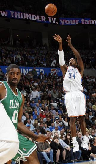 Oklahoma City's Desmond Mason takes a shot in the first half during the NBA basketball game between the Oklahoma City Thunder and the Boston Celtics at the Ford Center in Oklahoma City, Wednesday, Nov. 5, 2008. BY NATE BILLINGS, THE OKLAHOMAN
