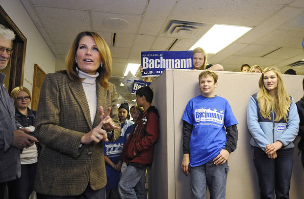 U.S. Rep. Michele Bachmann speaks to supporters at her campaign headquarters in St. Cloud, Minn., Saturday, Nov. 3, 2012. (AP Photo/The St. Cloud Times, Dave Schwarz) NO SALES