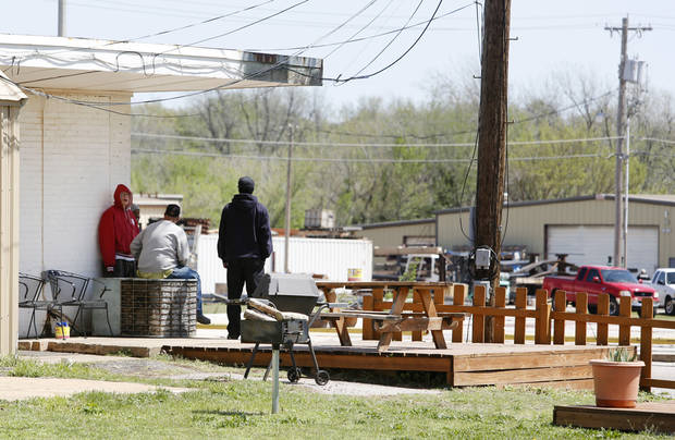 Picnic tables behind joe's addiction in Valley Brook, Friday April 19, 2013. Photo By Steve Gooch, The Oklahoman ORG XMIT: OKC1303121532440650