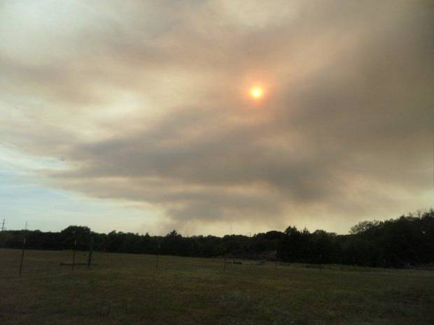 VIEW OF THE NOBLE FIRE FROM EARLSBORO, OKLAHOMA