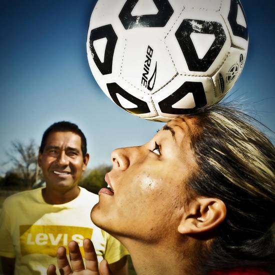GIRLS HIGH SCHOOL SOCCER / LUIS RAMIREZ: Northwest Classen soccer player Ericka Ramirez poses for a photo with her father Luis at the Northwest Classen soccer field on Wednesday, March 23, 2011, in Moore, Okla.  Photo by Chris Landsberger, The Oklahoman ORG XMIT: KOD