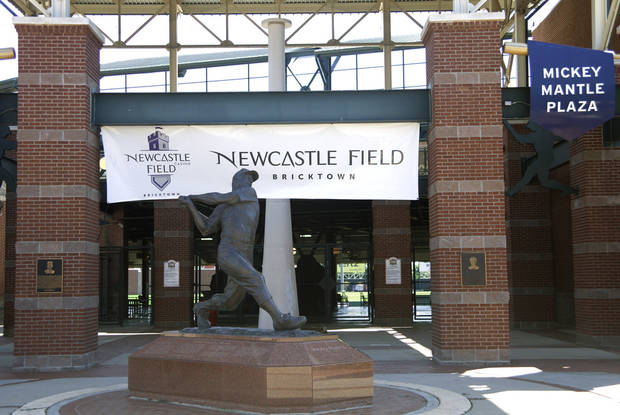 A temporary banner for Newcastle Field at Bricktown where the Redhawks will play their home games Wednesday, April 4, 2012. Photo by Doug Hoke, The Oklahoman