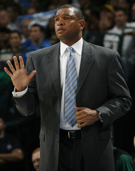 Boston head coach Doc Rivers signals his team in the first half during the NBA basketball game between the Oklahoma City Thunder and the Boston Celtics at the Ford Center in Oklahoma City, Wednesday, Nov. 5, 2008. BY NATE BILLINGS, THE OKLAHOMAN
