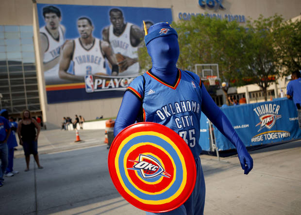 Chris Zoski of Oklahoma City makes his to the Oklahoma CIty Arena before the NBA basketball game between the Denver Nuggets and the Oklahoma City Thunder in the first round of the NBA playoffs at the Oklahoma City Arena, Sunday, April 17, 2011. Photo by Bryan Terry, The Oklahoman
