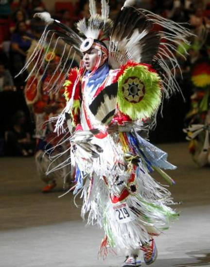 Graham Primeaux Jr., of Shawnee, Okla., dances at the Red Earth Festival at the Cox Convention Center on June 8, 2013. Photo by KT KING, The Oklahoman Archive