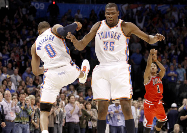 CELEBRATION: Oklahoma City's Russell Westbrook and Kevin Durant celebrate during the NBA basketball game between the Oklahoma City Thunder and the Chicago Bulls in the Oklahoma City Arena on Wednesday, Oct. 27, 2010. Photo by Bryan Terry, The Oklahoman ORG XMIT: KOD