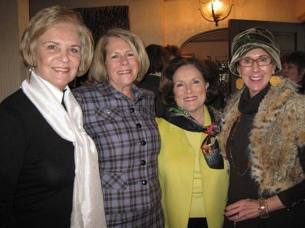 CELEBRATING KAREN AND KATHY....Pam Smith, Kathy Walker, SoRelle  Fitzgerald and Annie Bohanon braved the icy roads to come to the  party. (Photo by Helen Ford Wallace).