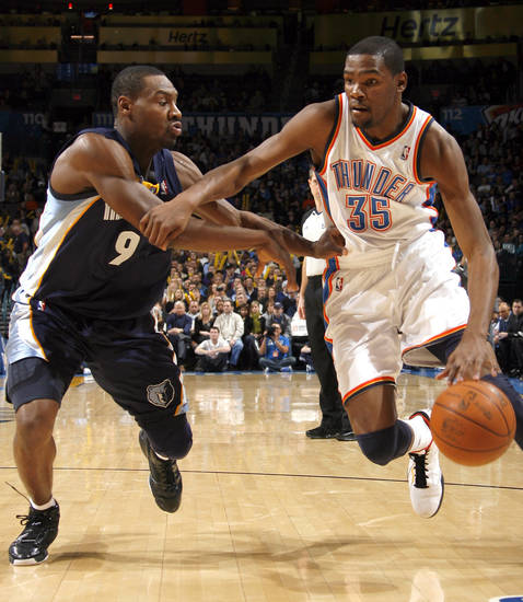 Oklahoma City's Kevin Durant (35) drives past Memphis' Tony Allen during the NBA basketball game between the Oklahoma City Thunder and the Memphis Grizzlies, Saturday, Jan. 8, 2011, at the Oklahoma City Arena. Photo by Sarah Phipps, The Oklahoman