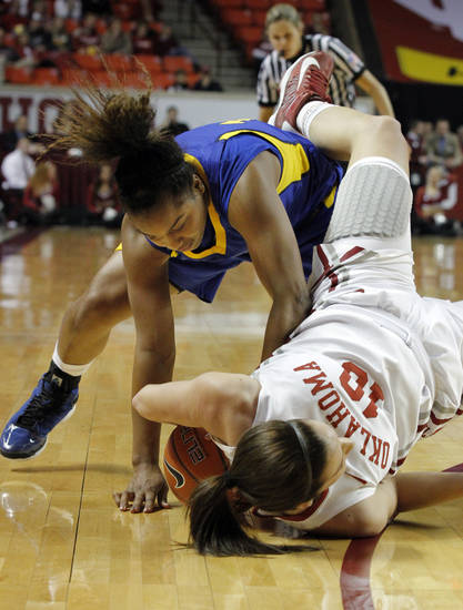 Tre'Shonti Nottingham attempts to steal the ball from Oklahoma's Morgan Hook (10) as the University of Oklahoma Sooners (OU) play the Riverside Highlanders in NCAA, women's college basketball at The Lloyd Noble Center on Thursday, Dec. 20, 2012  in Norman, Okla. Photo by Steve Sisney, The Oklahoman
