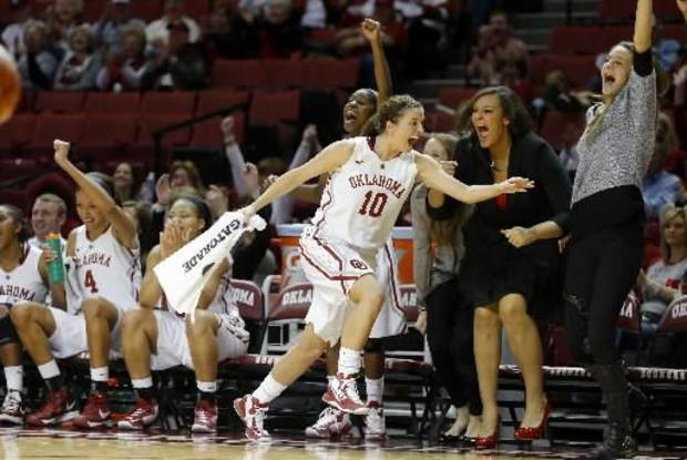 Oklahoma guard Morgan Hook (10) and the Sooners' bench reacts after Tara Dunn scored her first point of the season late in Wednesday's win over TCU. PHOTO BY BRYAN TERRY, THE OKLAHOMAN
