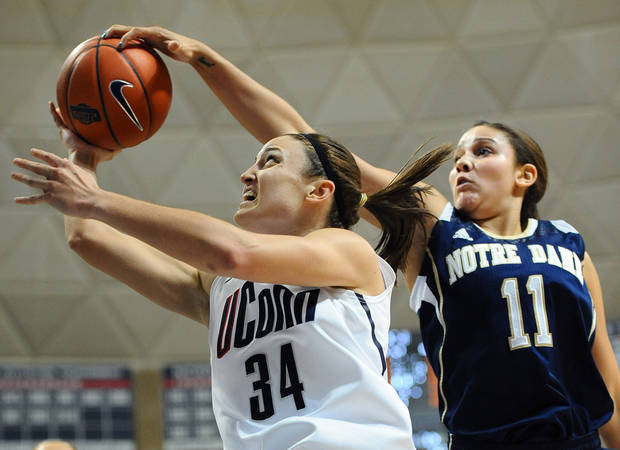 Notre Dame's Natalie Achonwa, right, blocks a shot by Connecticut's Kelly Faris during the first half of an NCAA college basketball game in Storrs, Conn., Saturday, Jan. 5, 2013. Notre Dame beat No. 1 UConn 73-72. (AP Photo/Jessica Hill)