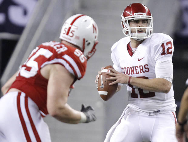 Oklahoma's Landry Jones (12) looks to pass the ball during the Big 12 football championship game between the University of Oklahoma Sooners (OU) and the University of Nebraska Cornhuskers (NU) at Cowboys Stadium on Saturday, Dec. 4, 2010, in Arlington, Texas.  Photo by Chris Landsberger, The Oklahoman