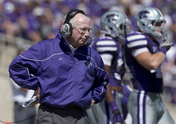 Kansas State coach Bill Snyder watches from the sideline during the second half of an NCAA football game against Miami in Manhattan, Kan., Saturday, Sept. 8, 2012. Kansas State defeated Miami 52-13. (AP Photo/Orlin Wagner)