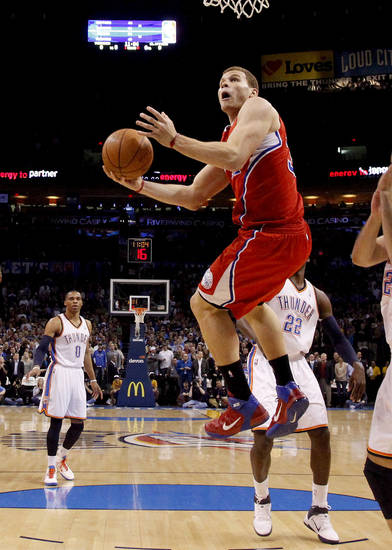 Los Angeles' Blake Griffin (32) goes to the basket during the NBA basketball game between the Oklahoma City Thunder and the Los Angeles Clippers at the Oklahoma CIty Arena, Tuesday, Feb. 22, 2011.  Photo by Bryan Terry, The Oklahoman