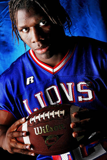 Moore High School's Shante Mackey All Big City and All State Linebacker. 