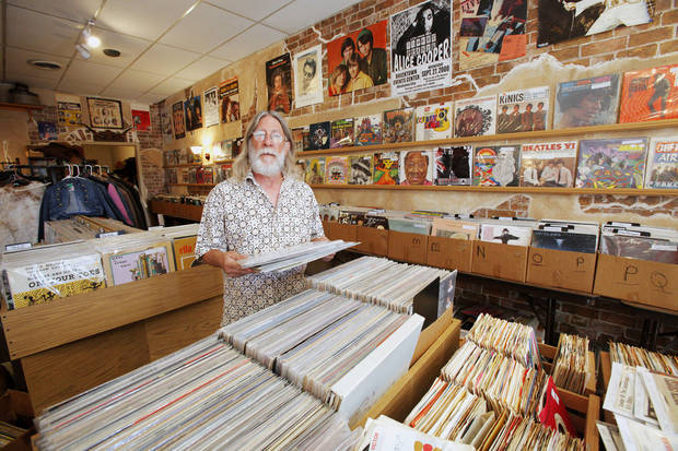 Store owner John Dunning inside his Trolley Stop Record Shop in Oklahoma City Thursday, July 19, 2012.  Photo by Paul B. Southerland, The Oklahoman