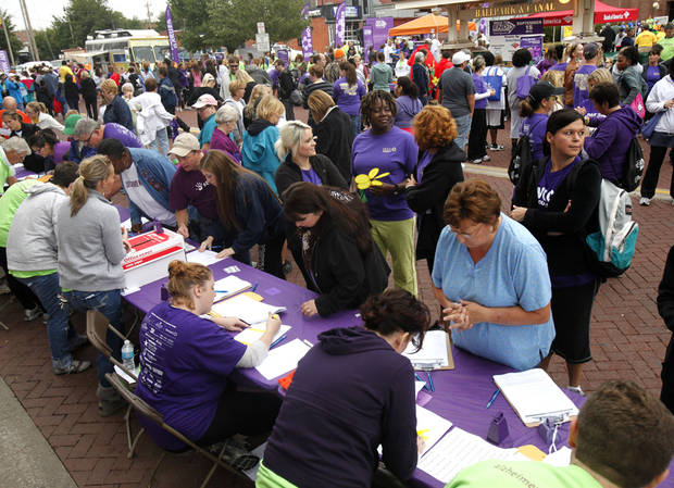 Walkers register for the 2012 Oklahoma City Walk to End Alzheimer's at Bricktown Ballpark in Oklahoma City, OK, Saturday, September 15, 2012,  By Paul Hellstern, The Oklahoman