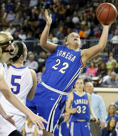 Lomega&#039;s Ashley LaGasse (22) takes a shot during a Class B Girls semifinal game of the state high school basketball tournament between Hammon and Lomega at Jim Norick Arena, The Big House, on State Fair Park in Oklahoma City, Friday, March 1, 2013. Photo by Nate Billings, The Oklahoman