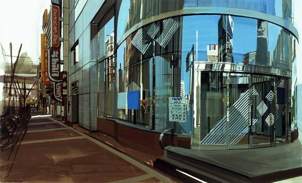 """Six Views of Edo: Shinjuko III,"" 1989, Richard Estes. Private Collection, Louis K. Meisel Gallery, New York. Courtesy International Arts"