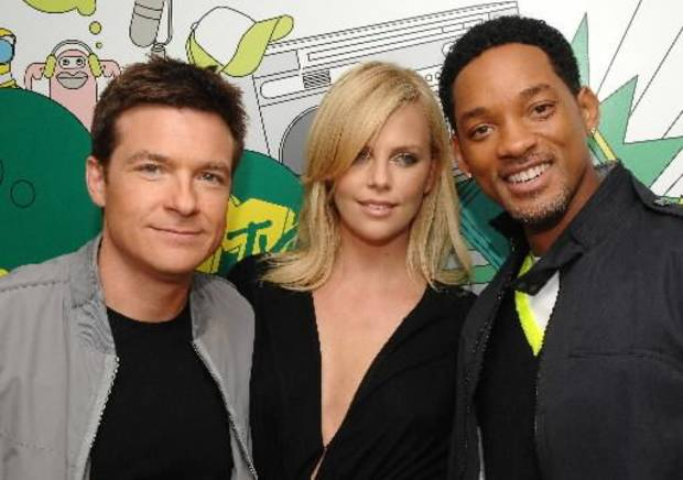 Jason Bateman, (from left) Charlize Theron and Will Smith will star in &quot;Hancock 2.&quot;