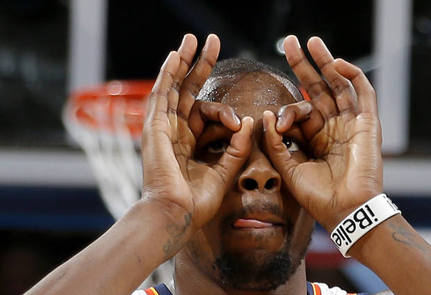 Oklahoma City's Kevin Durant (35) reacts during an NBA basketball game between the Oklahoma City Thunder and the Minnesota Timberwolves at Chesapeake Energy Arena in Oklahoma City, Wednesday, Jan. 9, 2013.  Oklahoma City won 106-84. Photo by Bryan Terry, The Oklahoman