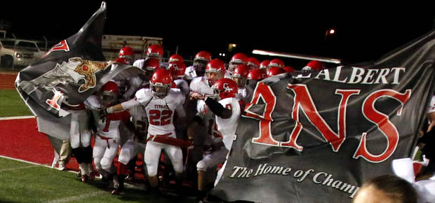 Carl Albert Titans take the field to play the Del City Eagles in Class 5A, first round, playoff action in high school football on Friday, Nov. 9, 2012 in Del City, Okla.   Photo by Steve Sisney, The Oklahoman