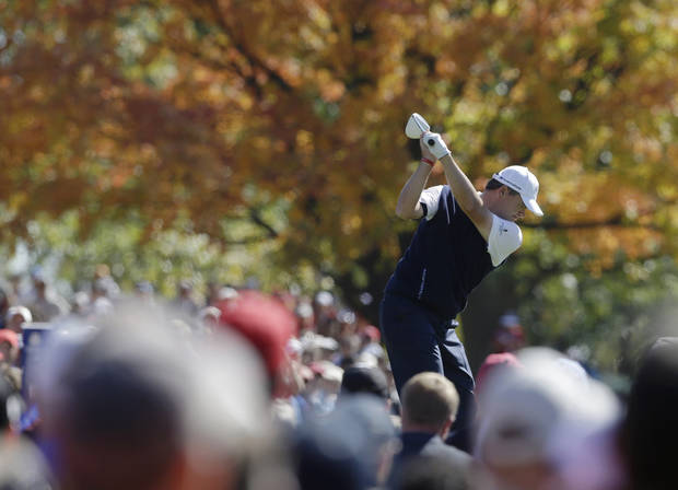 Europe's Paul Lawrie hits a drive on the ninth hole during a singles match at the Ryder Cup PGA golf tournament Sunday, Sept. 30, 2012, at the Medinah Country Club in Medinah, Ill. (AP Photo/Chris Carlson)  ORG XMIT: PGA144