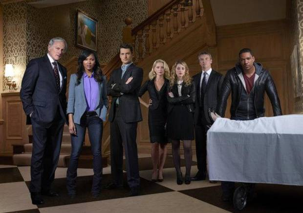 (l-r) Victor Garber as Robert Bowers, Meagan Good as Joanna Locasto, Wes Brown as Julian Bowers, Katherine LaNasa as Sophia Bowers, Ella Rae Peck as Mia Bowers, Tate Donovan as Edward Bowers and Laz Alonso as Will Moreno -- (Photo by: J.R.