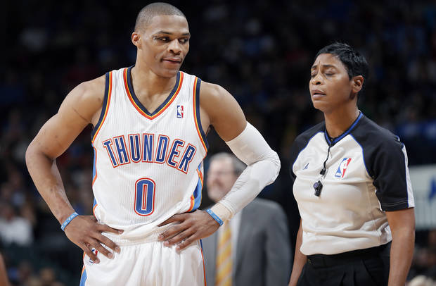 Oklahoma City's Russell Westbrook eyes the official during the NBA basketball game between the Oklahoma City Thunder and the Brooklyn Nets at the Chesapeake Energy Arena on Wednesday, Jan. 2, 2013, in Oklahoma City, Okla. Photo by Chris Landsberger, The Oklahoman
