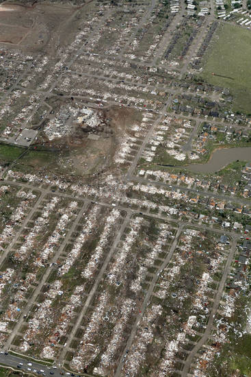 A wide swath of destruction in this neighborhood destroyed by the May 20th tornado in Moore, OK, Tuesday, May 21, 2013,  By Paul Hellstern, The Oklahoman