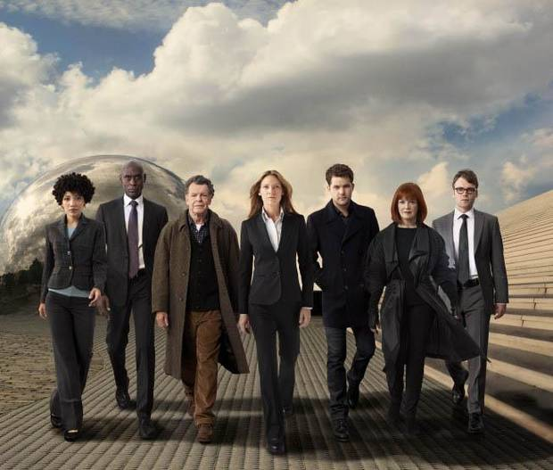 From left, Jasika Nicole, Lance Reddick, John Noble, Anna Torv, Joshua Jackson, Blair Brown and Seth Gabel. - Fox Photo