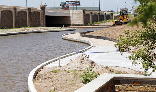 A view of the new Interstate 40 passing over the canal extension to the  Oklahoma River at he Boathouse District in Oklahoma City, Thursday, June 27, 2013. Photo by Nate Billings, The Oklahoman