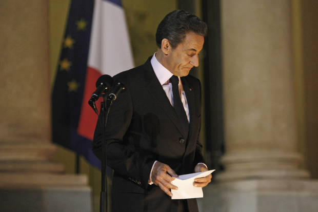 French President Nicolas Sarkozy delivers a speech to reporters, at the Elysee Palace, in Paris, Tuesday Nov. 1, 2011. Sarkozy defended the hard-fought European bailout plan for Greece as the only way possible to resolve that nation's debt crisis, bemoaning the bombshell Greek decision to put the plan to a referendum.  (AP Photo/Thibault Camus) ORG XMIT: XTC106