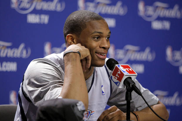 Oklahoma City's Russell Westbrook answers a question during a press conference for Game 3 of the NBA Finals between the Oklahoma City Thunder and the Miami Heat at American Airlines Arena in Miami, Saturday, June 16, 2012. Photo by Bryan Terry, The Oklahoman