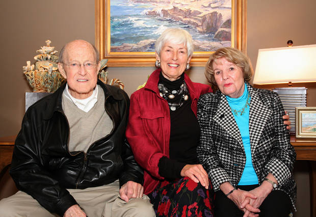 David Flesher, Joan Marron LaRue and Dolly Flesher visit at Joan's private art preview at The Howell Gallery.