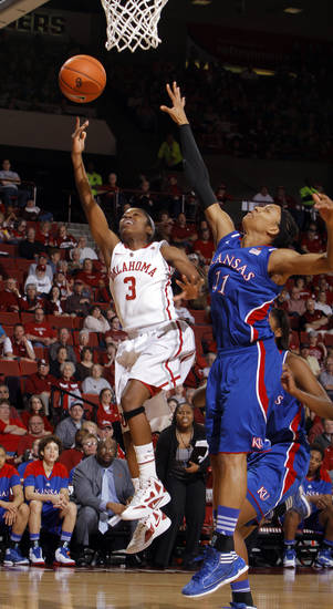 during the women's college basketball game between the Oklahoma Sooners and the Kansas Jayhawks at the LLoyd Noble Center in Norman, Okla., Sunday, March, 4, 2011. Photo by Sarah Phipps, The Oklahoman