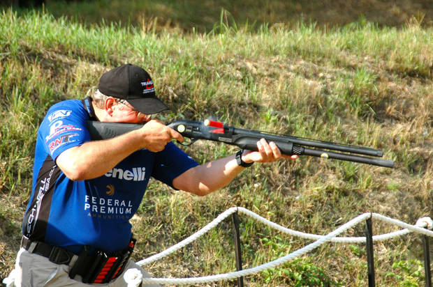Kurt Miller competes in the World Shotgun Championships in Hungary. The Edmond resident won the gold medal in the senior division for shooters age 50 and older. PHOTO PROVIDED