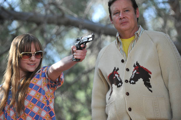 "In this film image released by Magnolia Pictures, Tara Lynne Barr, left, and Joel Murray are shown in a scene from ""God Bless America."" (AP Photo/Magnolia Pictures)"