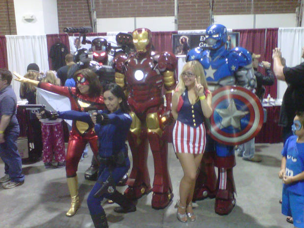Fans dressed as Avengers at Planet Comicon in Overland Park, Kan.