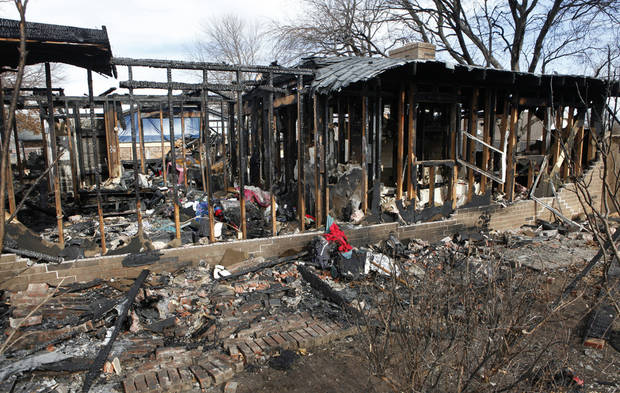Oklahoma Natural Gas workers were investigating a leak for about an hour on Jan. 3 before an explosion destroyed this home at 9208 S Villa in Oklahoma City. The home was still a pile of burned lumber and scorched metal Friday. Photo by David McDaniel, The Oklahoman? <strong>David McDaniel - The Oklahoman</strong>
