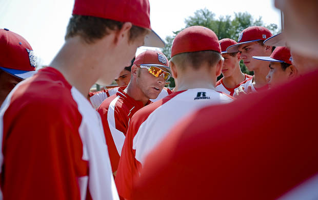 Former Major League Baseball player and current head coach of the Binger-Oney High School baseball team Reggie Willits talks with his team during pre game on Thursday, Sept. 20, 2012, in Binger, Okla. Photo by Chris Landsberger, The Oklahoman