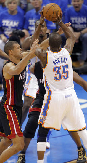 Oklahoma City's Kevin Durant (35) tries to shoot over Miami's Shane Battier (31) during Game 2 of the NBA Finals between the Oklahoma City Thunder and the Miami Heat at Chesapeake Energy Arena in Oklahoma City, Thursday, June 14, 2012. Photo by Chris Landsberger, The Oklahoman