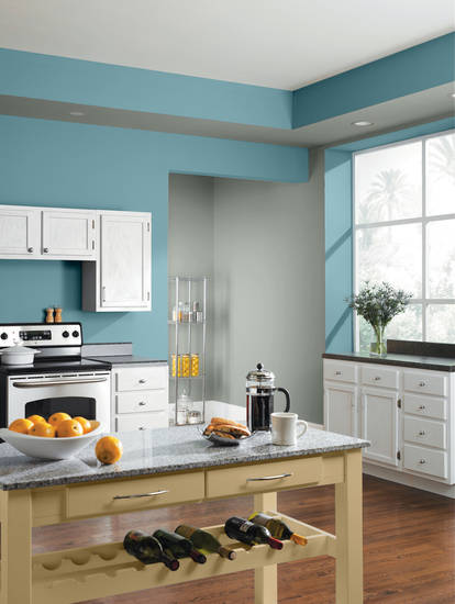 Feeling blue? So are color forecasters, who see tropical shades of blue dominating the color scene for 2013. Pictured here are two trend shades from Sherwin-Williams, �Calypso� and �Mountain Stream.�