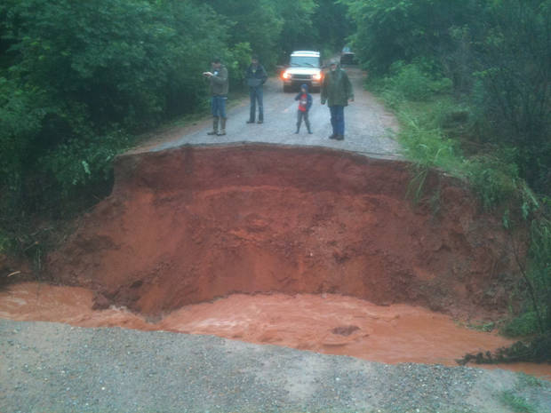 Photo of this sinkhole near Tecumseh submitted to NewsOK.com