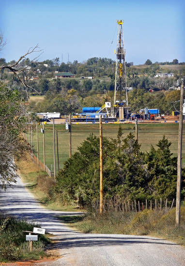 Continental Resources rig site in Chickasha is shown.  Photos by Chris Landsberger, The Oklahoman